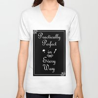 mary poppins V-neck T-shirts featuring Mary Poppins Practically Perfect by Whimsy and Nonsense