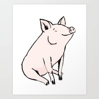 pig Art Prints featuring Pig by Emily Stalley