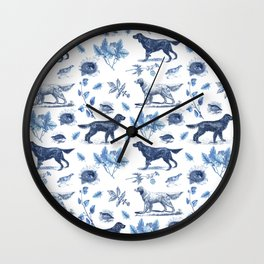 BIRD DOGS & CALSSIC BLUE FRENCH PORCELAIN Wall Clock