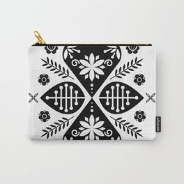 Monochrome Scandi Folk Pattern Art Carry-All Pouch