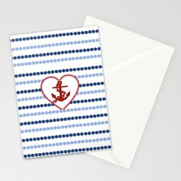 Modern navy blue nautical red heart anchor polka dots stripes Stationery Cards