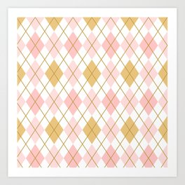 Pink and Gold Argyle Pattern  Art Print