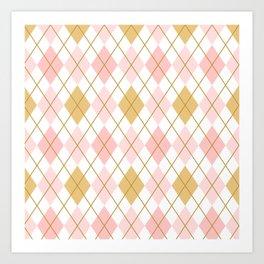 Pink and Gold Argyle Pattern  Art Print