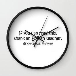 Thank an English Teacher Wall Clock