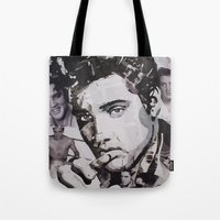 elvis Tote Bags featuring Elvis by Ross Collins Artist