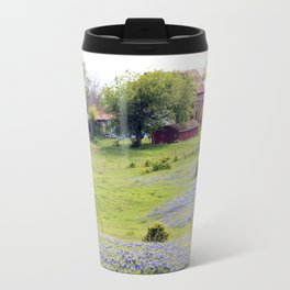 Old Red Barn and Rolling Bluebonnet Hills Travel Mug