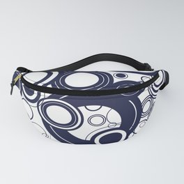 Contemporary Circles Modern Geometric Pattern in Navy Blue and White Fanny Pack
