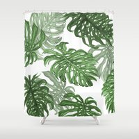 palms Shower Curtains featuring Monstera Deliciosa by Laura O'Connor
