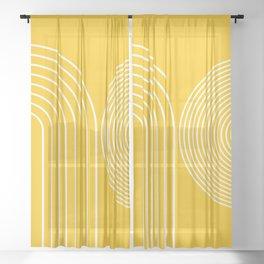 Geometric Lines in Mustard Yellow 3 (Rainbow abstract) Sheer Curtain