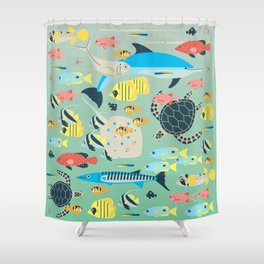 Underwater World with Coral Reef Animals Shower Curtain