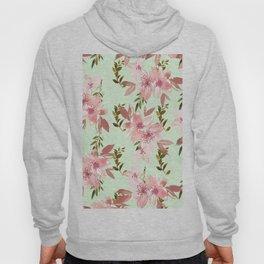 Modern botanical mint green pink watercolor floral Hoody