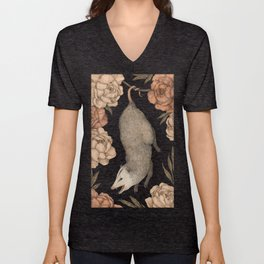The Opossum and Peonies Unisex V-Neck