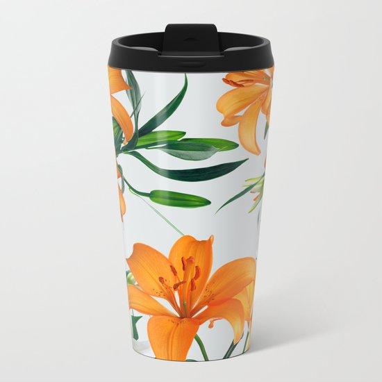 Glorious Lilies Metal Travel Mug