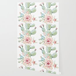 Cactus 3 White #society6 #buyart Wallpaper