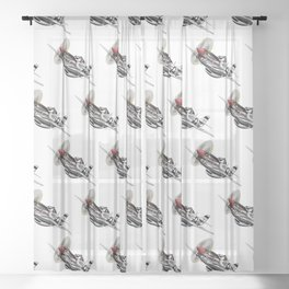 WW-II Warbird P-51 Mustang Airplane Cartoon Sheer Curtain