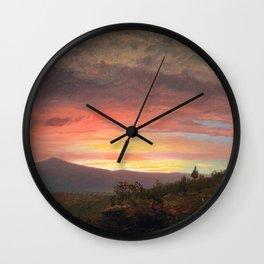 Frederic Edwin Church - Twilight, Mount Ktaadn - Hudson River School Oil Painting Wall Clock