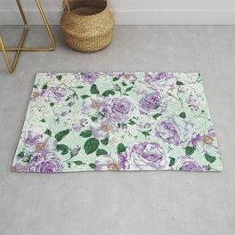 Vintage pastel green lavender watercolor floral roses Rug