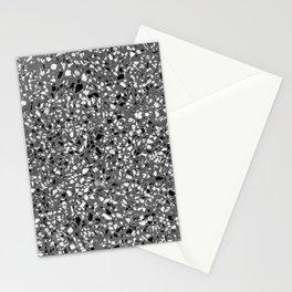 Dark Grey Monochrome Speckles Terrazzo Pattern Stone Effect Stationery Cards