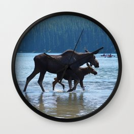 Mother moose & calf at Maligne Lake in Jasper National Park Wall Clock