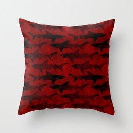 Blood Red Sharks Throw Pillow