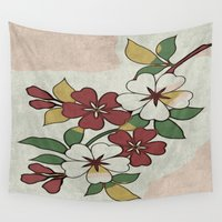 jasmine Wall Tapestries featuring White Jasmine by Guido prussia