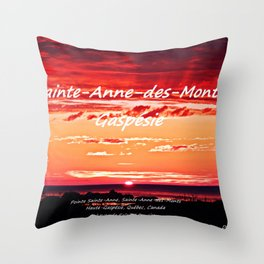 Sunrise on the Sea, in Sainte-Anne-des-Monts - Mask Edition Throw Pillow
