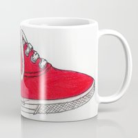 shoe Mugs featuring Red Shoe. by Alexis Pilato
