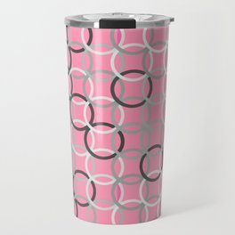 Mid-Century Modern Circles, Coral Pink and Grey Travel Mug
