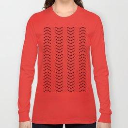 mudcloth pattern white black arrows Long Sleeve T-shirt