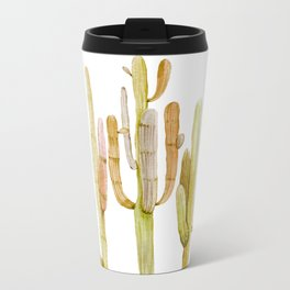 Minimalist Cactus Drawing Watercolor Painting Southwestern Green Cacti Metal Travel Mug