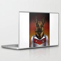 german shepherd Laptop & iPad Skins featuring Worldcup 2014 : Germany - German Shepherd by Life on White Creative