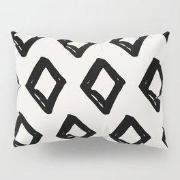 Modern Diamond Pattern Black on Light Gray Pillow Sham