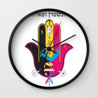 hamsa Wall Clocks featuring Hamsa by kruzenshtern i parohod