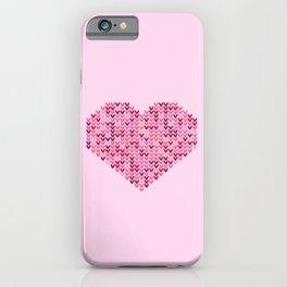 Pink Valentine's knit heart art work iPhone Case