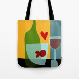 Golfishes love red wine Tote Bag