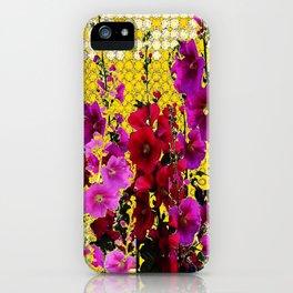 ARTISTIC PINK-REDS-PURPLE HOLLYHOCK GARDEN iPhone Case