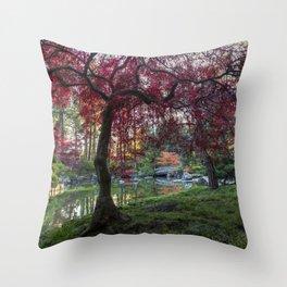 Japanese Maple Sunburst Throw Pillow