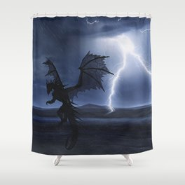 Dragon in the darkness Shower Curtain