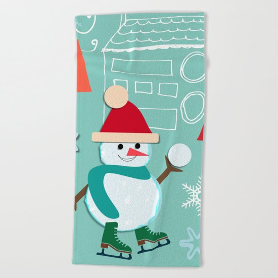 winter fun blue Beach Towel