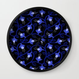 Midnight Blue Fuchsias & Vines Wall Clock