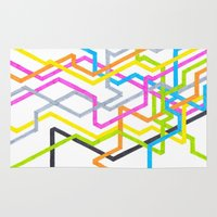 90s Area & Throw Rugs featuring Neon 90s Metro by Abstract Graph Designs