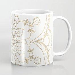 Chic elegant white faux gold spiritual floral mandala Coffee Mug