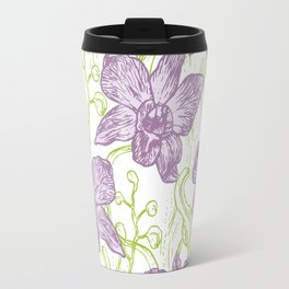 Orchid flowers. Hand drawn on white background olive Green pink purple contour sketch Travel Mug