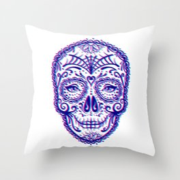 Sugar Skull (Calavera) Chromatic Aberration - Cyan Magenta Throw Pillow