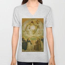 "Fra Angelico (Guido di Pietro) ""Coronation of the Virgin"" (San Marco) 1440-1441 Unisex V-Neck"