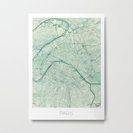 Paris Map Blue Vintage Metal Print