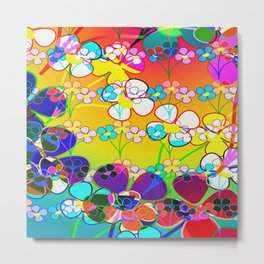 Abstract Colorful Flower Art Metal Print