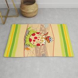 Hatching Dinosaur and Stripes for Kids Rug