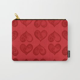 'Off With His Head Red Hearts Pattern' Wonderland styled design by Dark Decors Carry-All Pouch