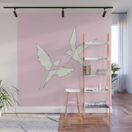 Two Swallows Line Art Wall Mural